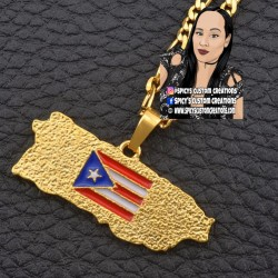 Puerto Rico Flag Necklace Style 2