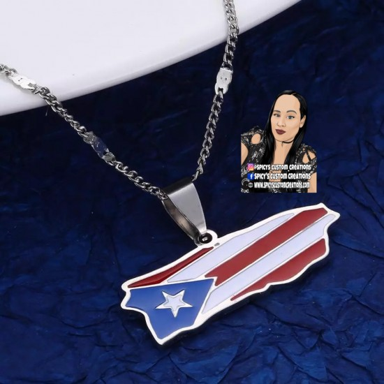Puerto Rico Flag Necklace Style 1